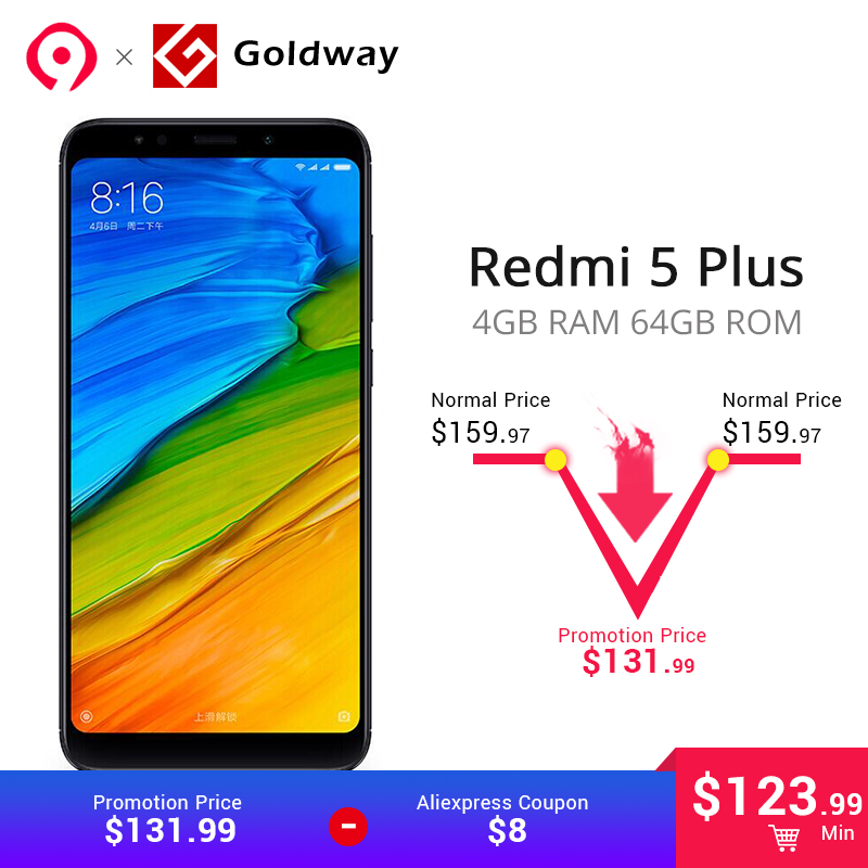 Aliexpresscom Comprar Original Xiaomi Redmi 5 Plus 4GB RAM 64GB ROM Cellphone Snapdragon 625 Octa Core 4000mAh Battery 599 inch 189 Full Screen de phone snapdragon fiable proveedores en Hong Kong Goldway