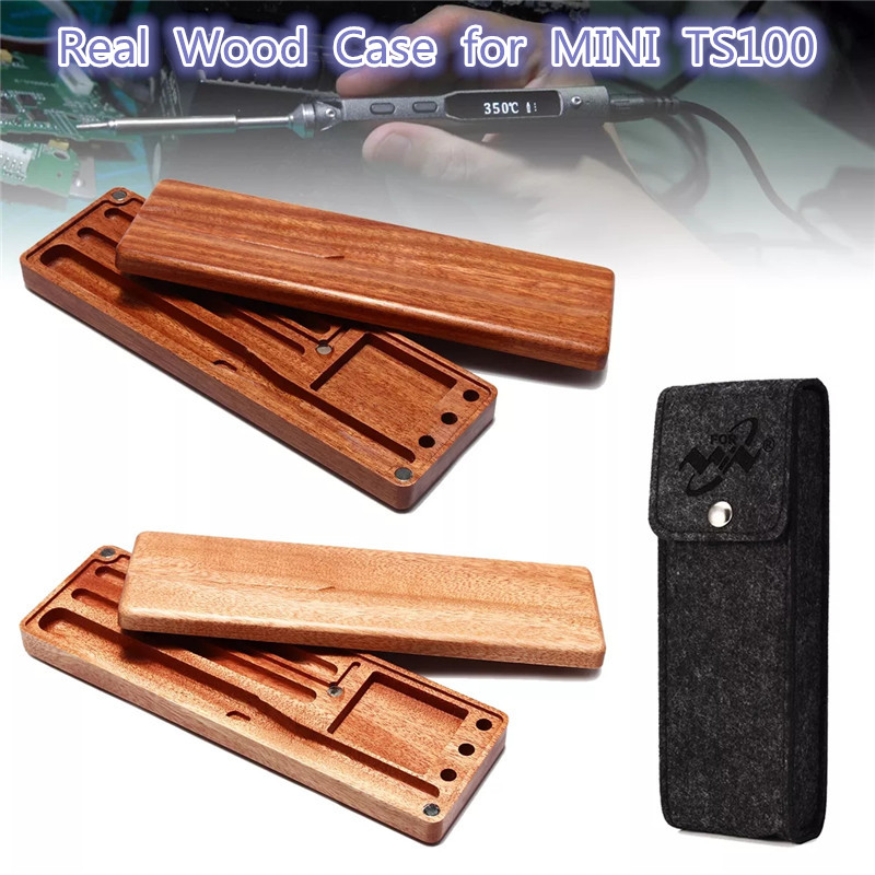 Portable Storage Wood Case For MINI TS100 Soldering Iron Holder Solder Mahogany Pear Wooden Holder Protect Carry Organizer Bag