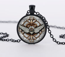 2017 New Classic Style Angel Wings Pendant Necklace Glass Necklaces Vintage Steampunk Jewelry High Quality Chain HZ1(China)