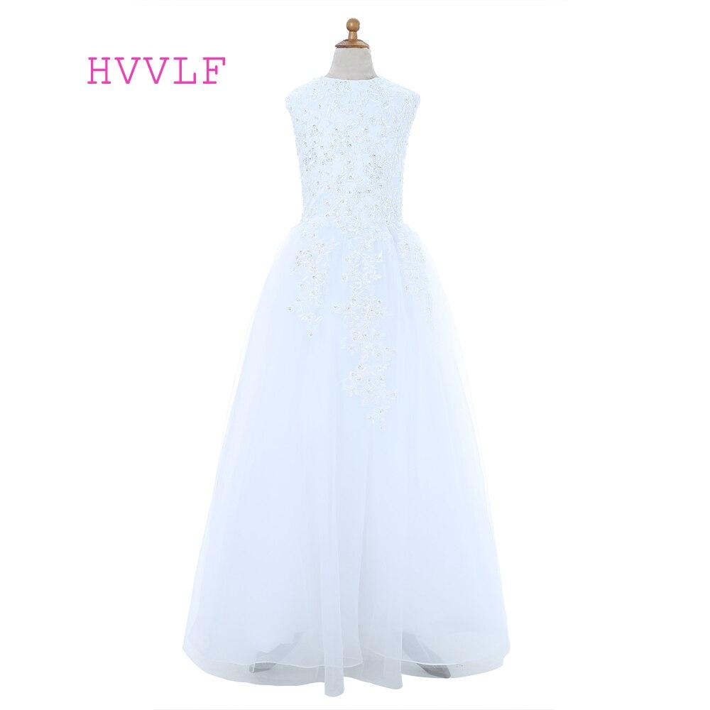 White 2019 Flower Girl Dresses For Weddings A-line Cap Sleeves Tulle Appliques Beaded First Communion Dresses For Little Girls