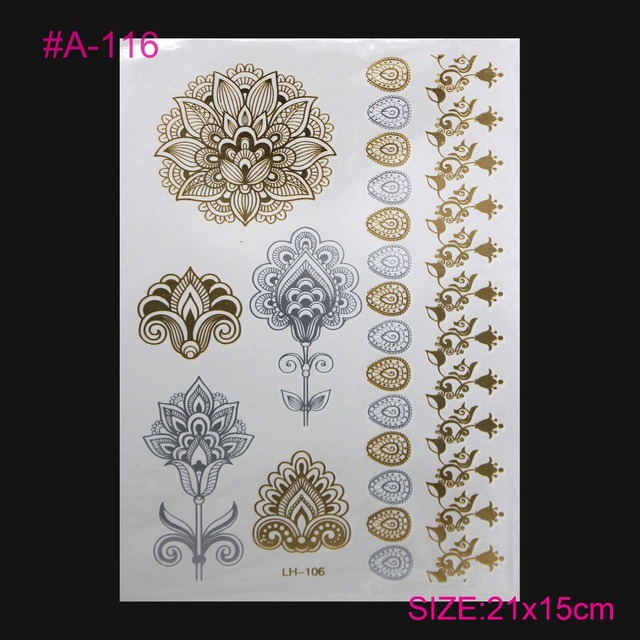 Gold Metallic Flash Tatto Neck Clavicle Lasting Tattoos Waterproof Henna Temporary Tatoo Gold-plated Silver Tattoo