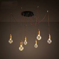 American Style Crystal Glass Ball Drop Hanging Light Spider Pendant Lamp Crystal Bulb Lighting Fixture For Indoor Lighting