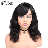 HANNE Hair Brazilian Natural Wave Remy Human Wigs For Black Women 150% Density Hair Wigs With Bangs Natural Black Color