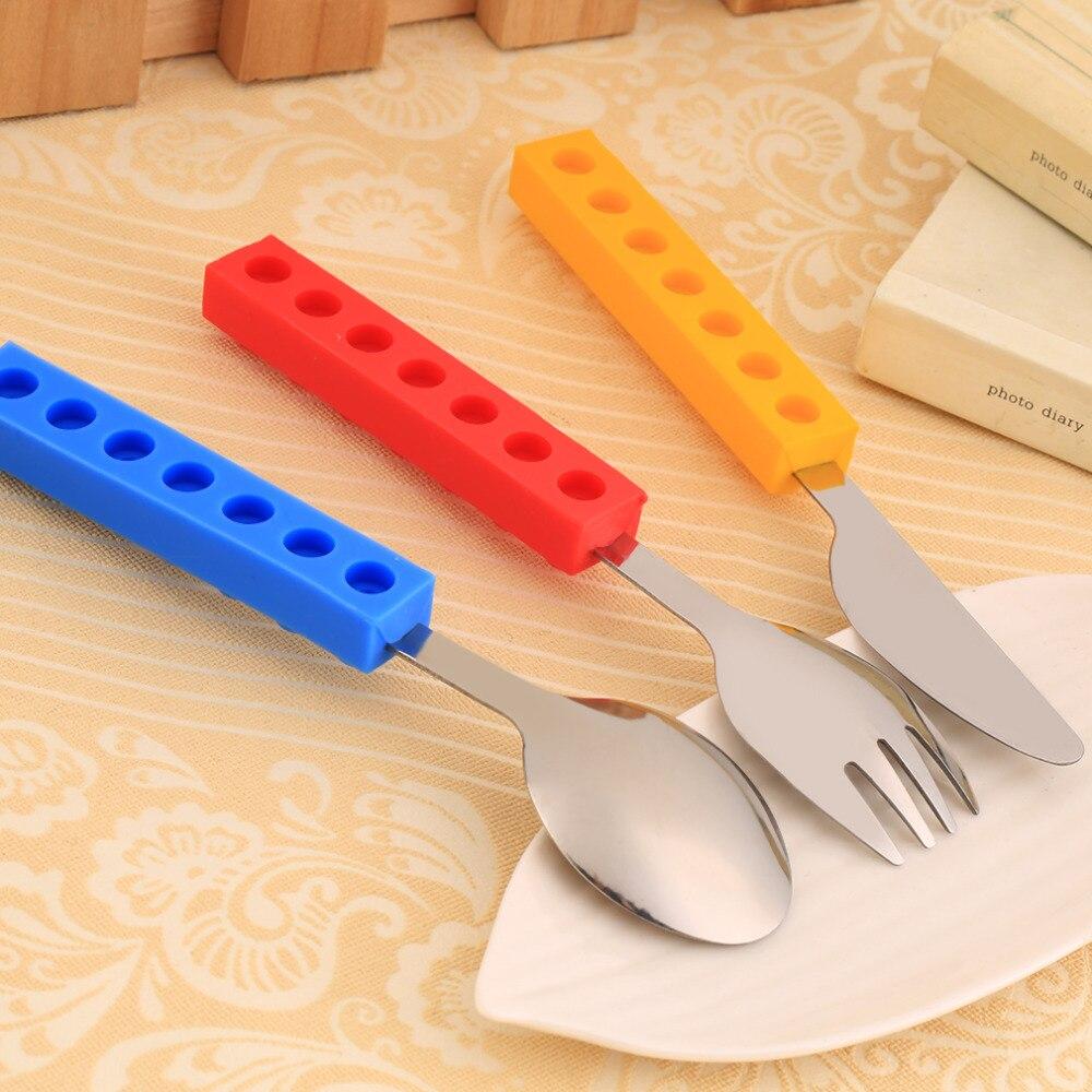 இ3Pcs Bricks Silicon Steel Portable Adult Kids Cutlery Knife Fork ...
