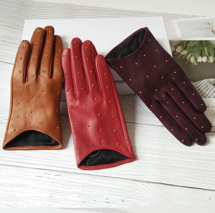 Image 4 - Женские перчатки из натуральной овчины на весну и осень, женские перчатки из натуральной кожи в стиле панк с заклепками, мотоциклетные перчатки для вождения R755-in Женские перчатки from Аксессуары для одежды on AliExpress - 11.11_Double 11_Singles' Day