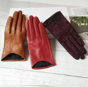 Image 4 - Womens Spring Autumn Natural Sheepskin Leather Gloves Female Genuine Leather Punk Style Rivet Motorcycle Driving Gloves R755