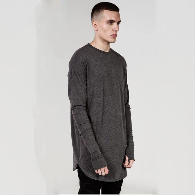 ec8166ad3ea2 New solid black white gray Thumb Hole Cuffs Long Sleeve T-shirt Swag Men  Side Split Hip Hop Top Tee T Shirt Wool plus size XXXL