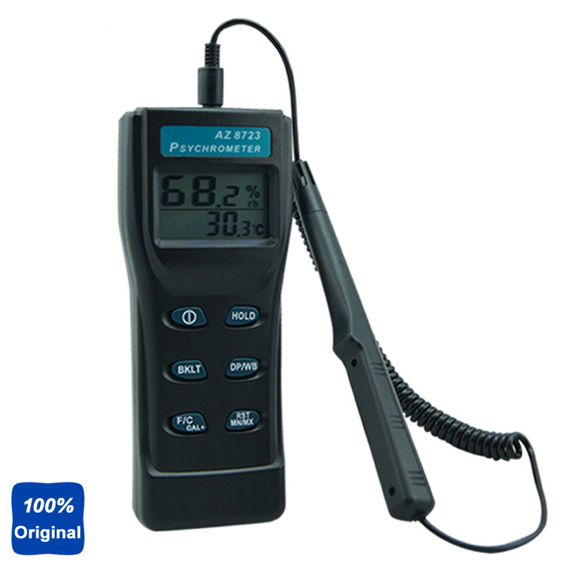 AZ-8723 Handheld Temperature Humidity Testing Dew Point Meter Wet Bulb Temperature and Humidity Tester fast shipping az8723 temperature humidity dew point meter wet bulb temperature and humidity az 8723