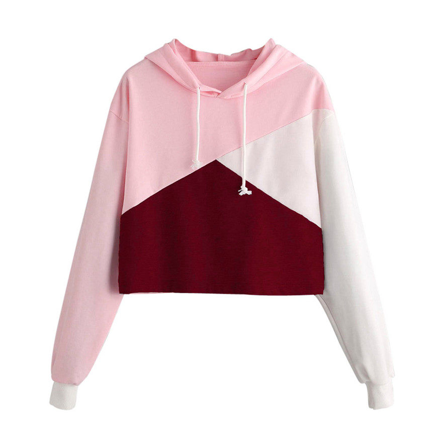 Womail Womens Long Sleeve Hoodie Sweatshirt Jumper Hooded Pullover Tops Pink, White Blouse Gift Jan 22 Drop Ship