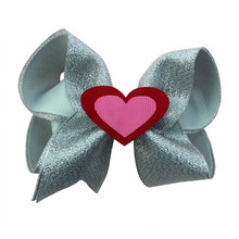 Adogirl 10pcs Valentines Day Hair Clips Loveheart Sequins Ribbon Bowknot Bows for Lover Gifts High Quality Accessory