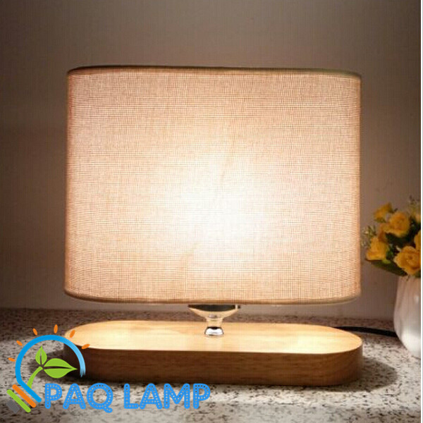Modern Table Lamp Wood Light Led Linen Cloth Shade Oak Oval Base Bed