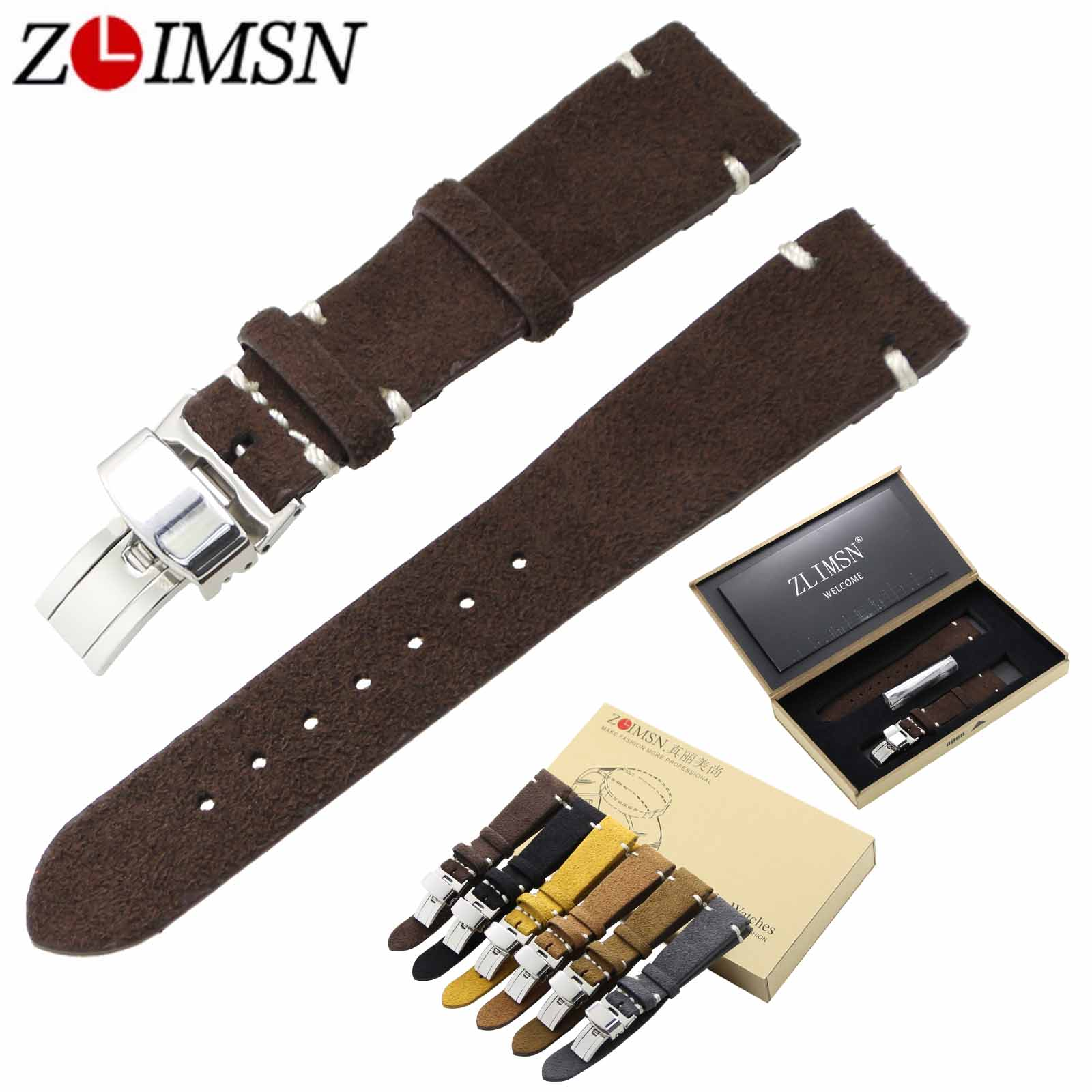 ZLIMSN 20mm Genuine Leather Watch Bands Replacement Grey Brown Black Yellow Watchband Silver Polished Stainless Steel Buckles цена и фото