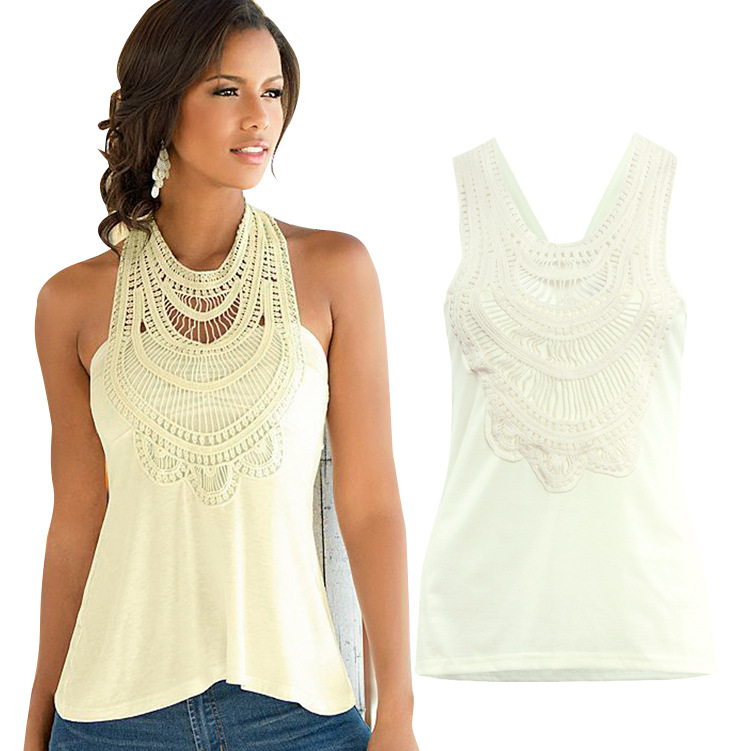 Women Sexy Lace Crop Tops Halter Tank Top Plus Size Solid -7113