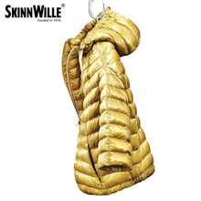 skinnwille 2016 new products down jacket in winter Women with regular in Europe and the hooded warm wind 90 white goose down