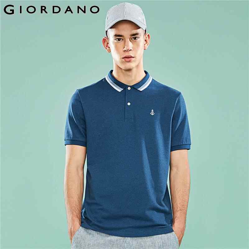 Giordano футболка Polo slim fit с короткими рукавами , с вышивкой якоря на груди, имеет несколько цветовых решений, а так же размеров.