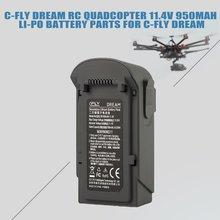 Батарея для C-FLY мечта 11,4 В 950 мАч 3 S RC Fodable Quadcopter 11,4 В 950 мАч 3 S Li-po Перезаряжаемые Батарея запасных Запчасти аксессуары