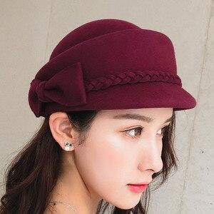 Image 3 - エレガントな 100% ウール Fedora の冬帽子女性女性の弓のベレー帽キャップピルボックス帽子 H3