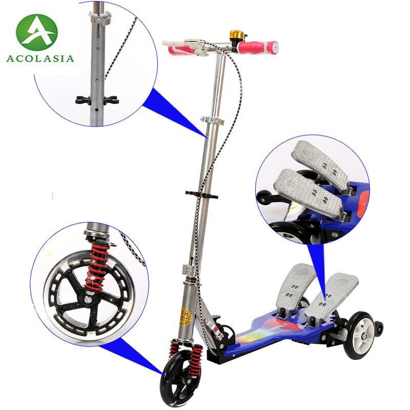 Roue de Scooter à pédale lumineuse facile à marcher 2 Scooter à Double pédale avec pédale de frein