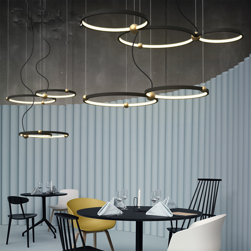 Industrial wind Iron circle led chandelier Nordic modern creative personality bar coffee restaurant round ring chandelier nordic modern solid wood chandelier coffee shop clothing shop restaurant bar creative personality single chandelier