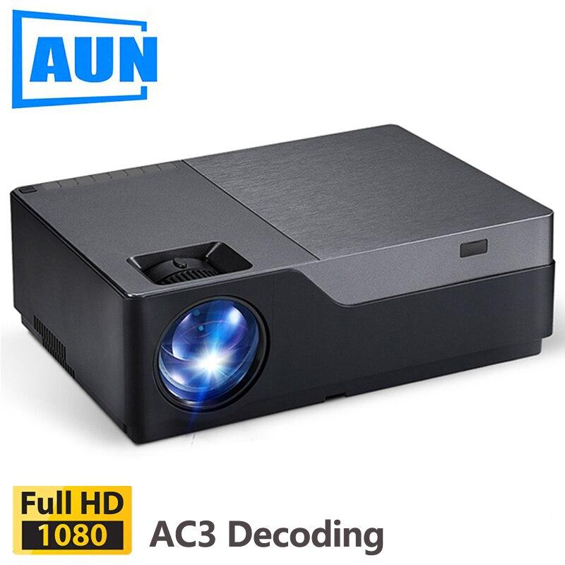 AUN M18 Projetor Full HD, 1920x1080 P, 5500 Lumens. LED Projetor Projetor de Home Theater.300 Polegada Projector De Vídeo, Suporte AC3 (Opcional Android)