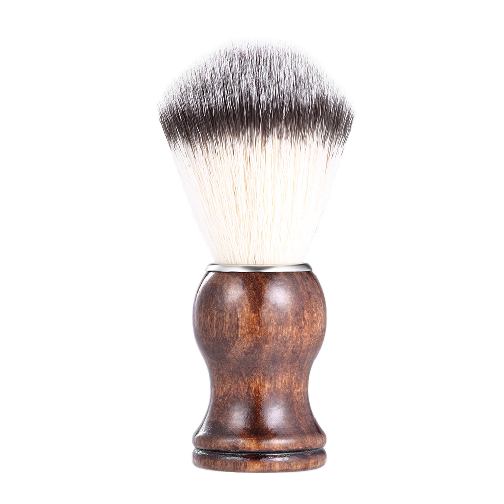 Cepillo De Afeitado De Barba Herramienta De Polvo De Afeitar Para Hombre Mango De Madera De Nailon Afeitado De Afeitar Herramienta De Limpieza Facial De Barba Cepillo De Limpieza