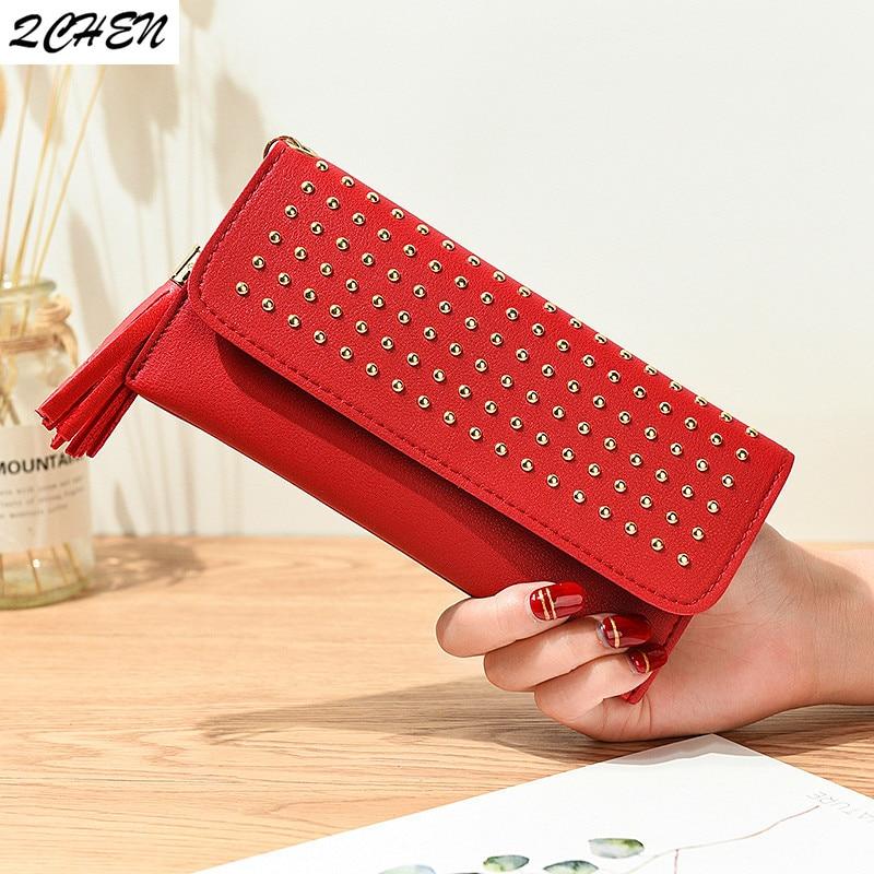 Women Long Wallet Clutch Buckle Rivet Woman's Wallet Large Capacity Wallet Female Purse Lady Purses Phone Pocket Card Holder 517