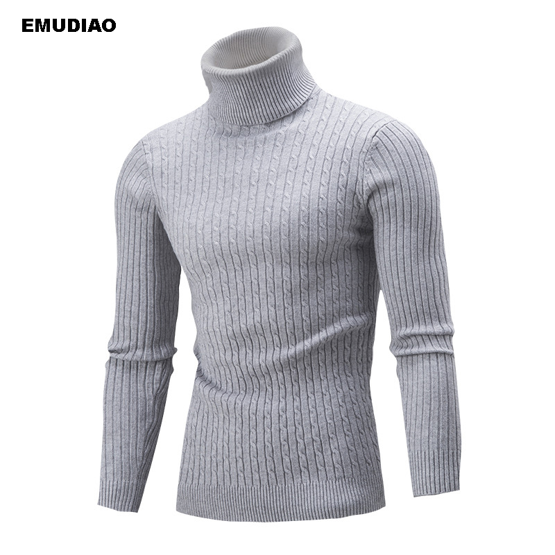 Turtleneck Sweater Men Solid Knitted Pullovers Mens Sweaters 2019 Autumn Winter Casual Knitwear Sllim Fit Hombre Pull Homme 4xl