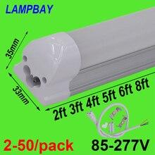 2 50/pack led 튜브 라이트 2ft 3ft 4ft 5ft 6ft 8ft t8 통합 전구 고정 장치 표면 장착 0.6m 0.9m 1.2m 1.5m 1.8m 2.4m 램프