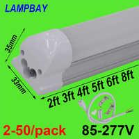 2-50/paquet LED Tube lumière 2ft 3ft 4ft 5ft 6ft 8ft T8 intégré ampoule luminaire monté en Surface 0.6m 0.9m 1.2m 1.5m 1.8m 2.4m m