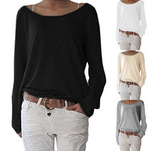 Plus Size Women T-shirt Solid Scoop Neck Sweater Shirt Lady Long Sleeve Jumpers Pullover Tops t-shirt
