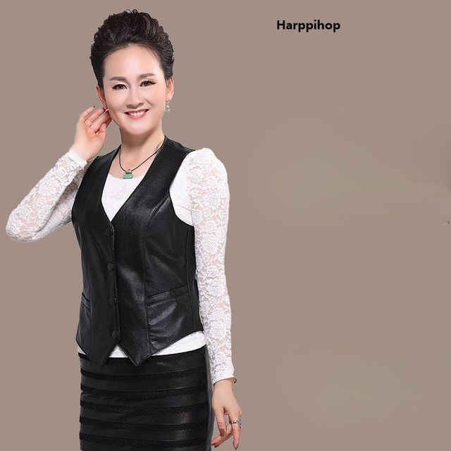 Online Shop Harppihop Brand Genuine Leather Vest Womens Winter