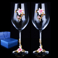 1 pair European High grade Creative Enamel Crystal Glass/ Red Wine Goblet with diamond/ Wedding Gift Crystal Glass Cup