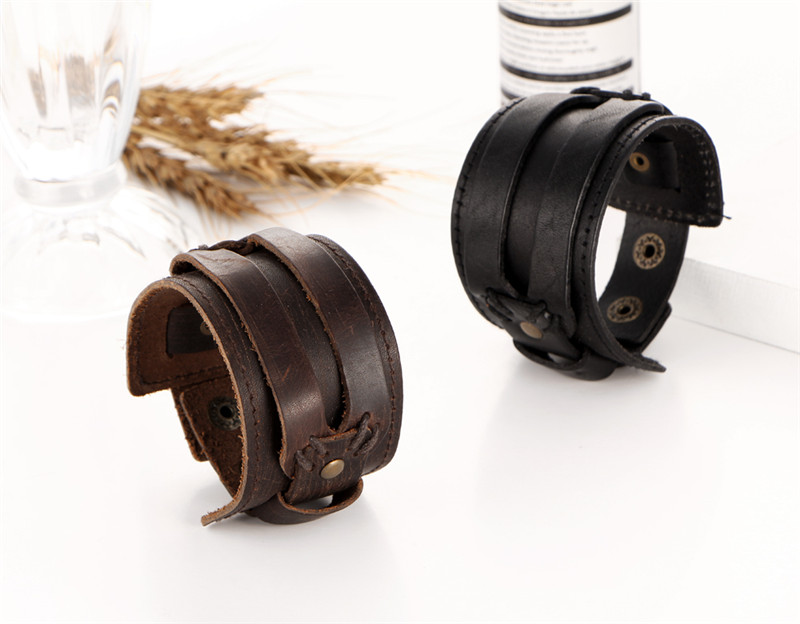 IF YOU Fashion Wide Double Layer Wrap wristband Leather Bracelet Homme Cuir For Men Fashion Casual Rock Cuff Armband Bracelets 20