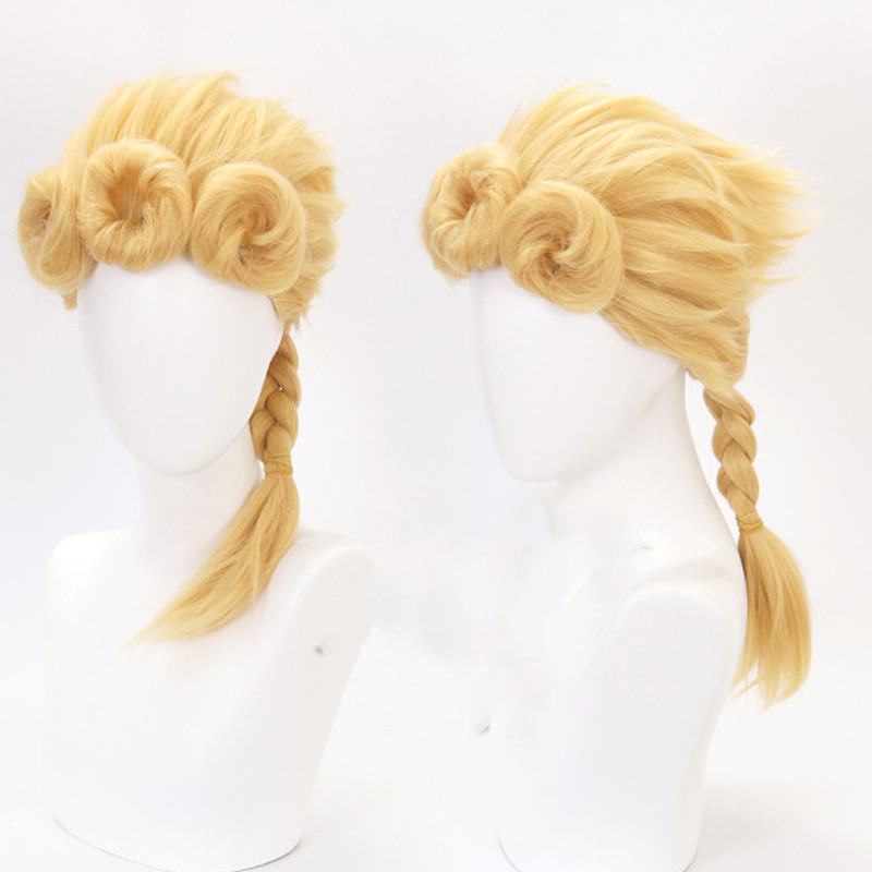 JOJO's Bizarre Adventure Golden Wind Cosplay Wig Giorno Giovanna Braid Wig Golden Wig Cosplay Styled Hair Halloween Role Play