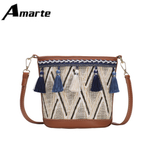 2019 Amarte Spring New Women Bag Embroidery Chinese Style Shoulder Tassel Wild Young Lady Crossbody Bags