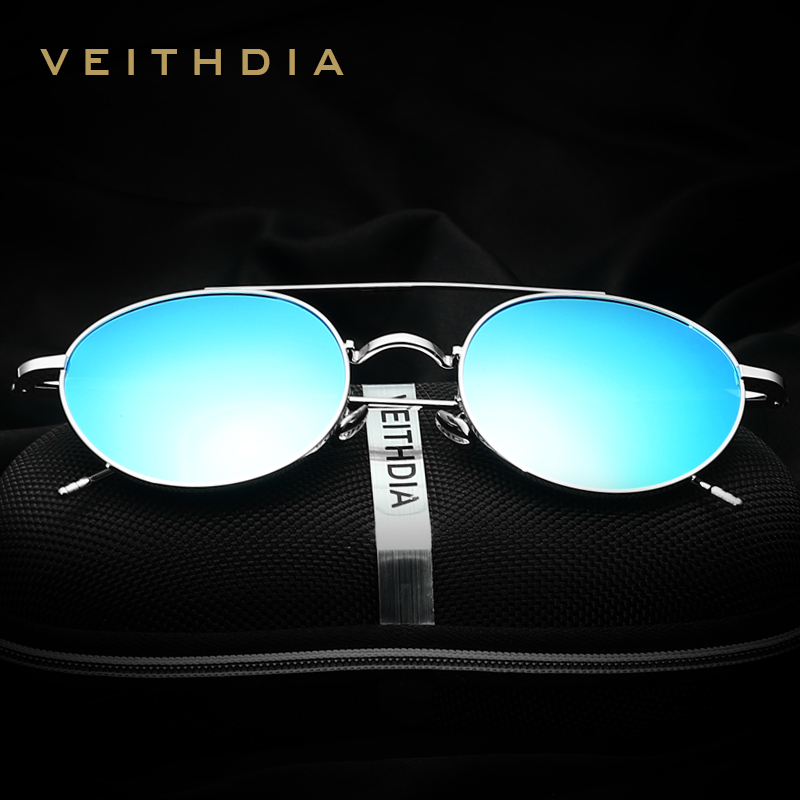VEITHDIA 2017 New Brand font b Fashion b font Round Alloy Frame Polarized Sunglasses Coating Lens