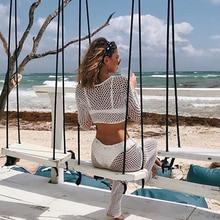 Women Bikini Long Sleeve Crochet Cover Up Pants Fishnet