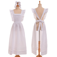 Maid Cosplay Women Victorian Edwardian Style British Servant Cotton Housekeeper Apron with Headpiece