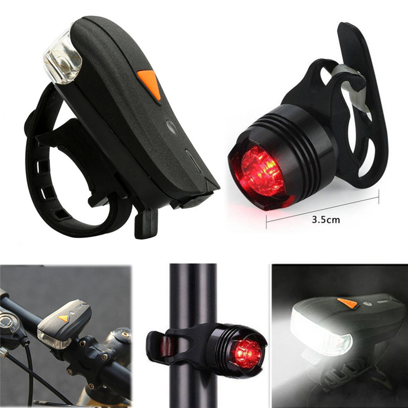 4PCS LED Silicone Mountain Bike Bicycle Front Rear Light Set Portable Clip Light
