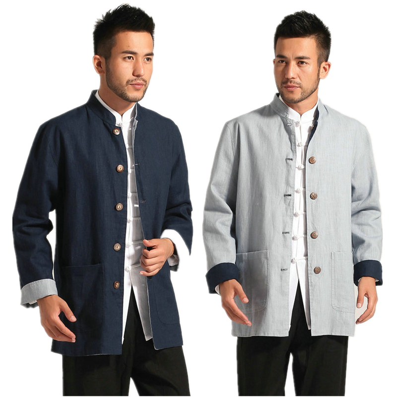 2016 New Man Cotton Linen Reversible Long Sleeve Chinese Tunic Suit Shirt Kungfu Top Taichi Coat Jacket Free Shipping new pure linen retro men s wing chun kung fu long robe long trench ip man robes windbreaker traditional chinese dust coat