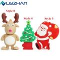 LEIZHAN USB Flash Drive Christmas Tree USB Stick 2.0 64g 32g 16g 8g 4g Pen Drive Pendrive Santa Claus Computer USB Drive Moose