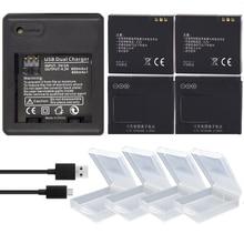 4PCS 1010mAh original batteries xiao mi Yi accessories  Xiaoyi Yi Battery with Double Dual Charger for xiaomi yi action camera