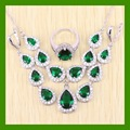 Silver color Long Earrings White created Topaz Green simulated Emerald Jewelry Sets For Women Elegant Earrings/Ring/Necklace