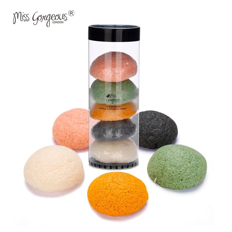 Miss Gorgeous 5pcs/set Konjac Makeup Sponges Soft Natural Konjac Fiber Face Wash Cosmetic Sponges Gentle Exfoliation Makeup Tool