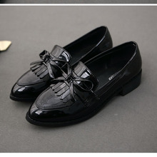 8a6ac13e649 Patent leather Tassel penny loafers for women flats slip on pointed toe  driving ladies dress shoes