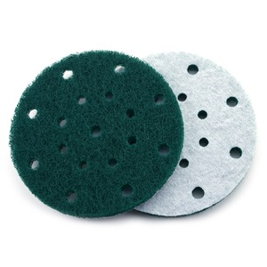 Image 2 - 12PCS 6 Inch 150mm 17 Hole Round Hook&Loop Industrial Scouring Pads Heavy Duty 240#/400#/1000# Nylon Polishing Pad for Cleaning