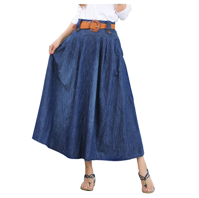 The New Ladies Skirts Long High Waist Large Size S 5XL 6XL Pleated Womens Denim Maxi