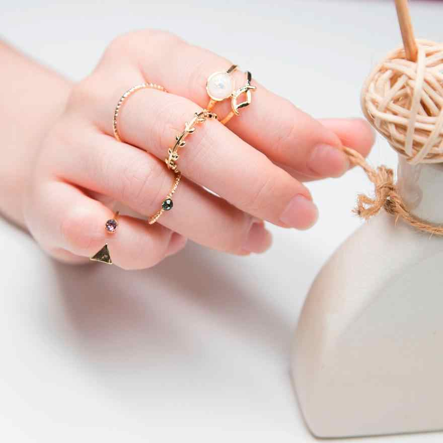 Ring jewelery Gold Rings 2018 Hot Fashion 5pcs/Set Women Bohemian Vintage Silver Stack Rings Above Knuckle Blue Rings Set Jun12
