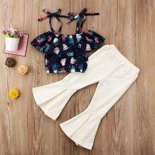 2018 Fashion Stylish Toddler Kids Girls Off Shoulder straped Floral Tops Flares Pants Outfits Set Summer Clothes Set For Girls