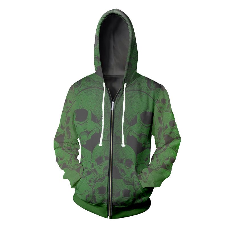 Black Zipper Hooded Hoodies Green Skull Header Streetwear Pullover Funny Cool Winter Spring Sweatshirts Casual Coat Novelty CD50